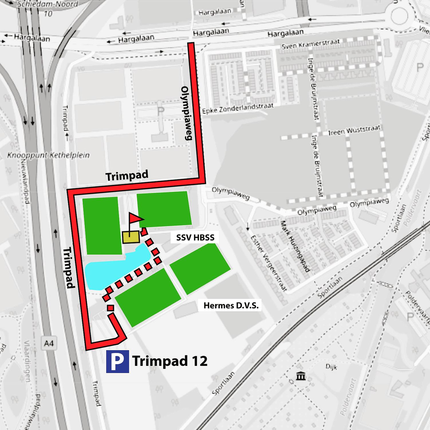 Plattegrond voor het multiveld op Sportpark Harga waar Team pastzjerik tijdelijk kickbokstrainingen geeft.